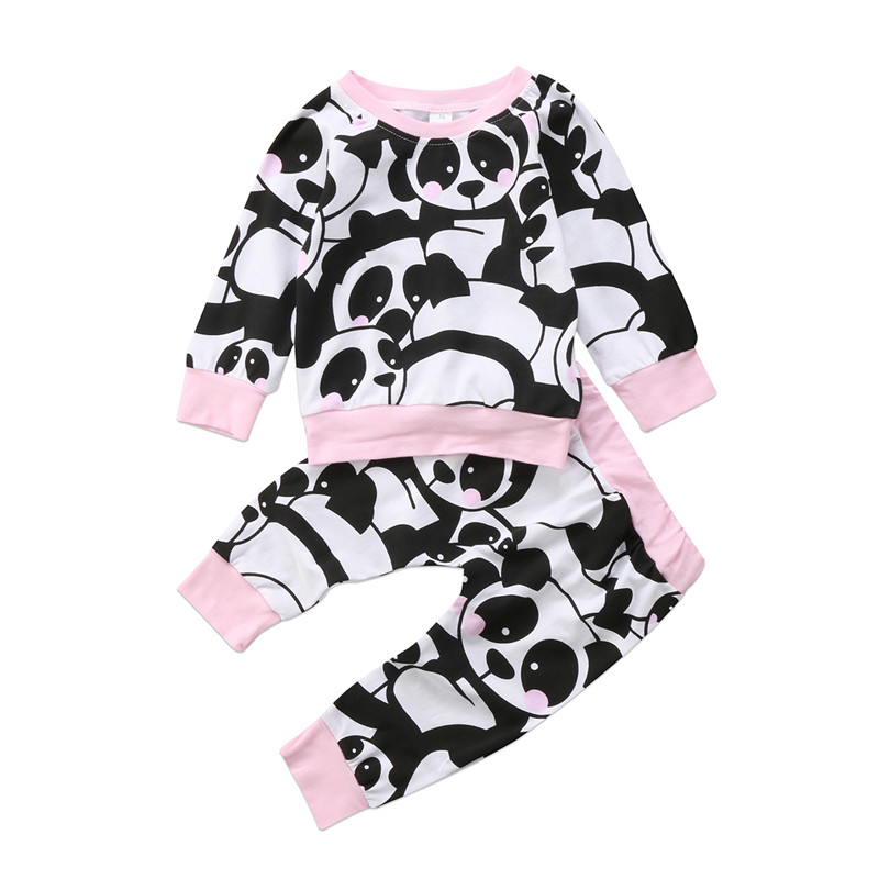 Baby Girls Panda Print Clothing Set Fall Warm Newborn Babys Girl Long Sleeve Tops+Pants  ...