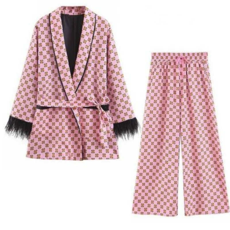 Frauen anzüge Frühling Sommer Rosa Geometrische Druck Feder Kimono Jacke vertikale Breite Bein Hosen Pyjamas Anzüge Zwei Stück Set