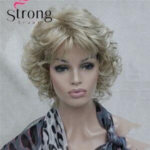 Image 2 - StrongBeauty Korte Zachte Shaggy Gelaagde Blonde Mix Full Synthetische Pruik Krullend vrouwen Pruiken