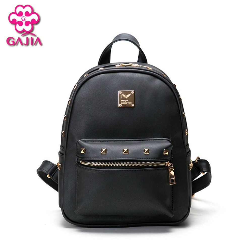 GAJIA Women Backpack High Quality PU Leather Patchwork School Bags For Teenagers Girls Top handle Backpacks