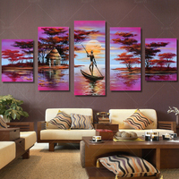 5 Panel Modern Classical African Landscape Painting Cuadros Canvas Art Secenery Wall Picture For Living Room Unframed HP1055