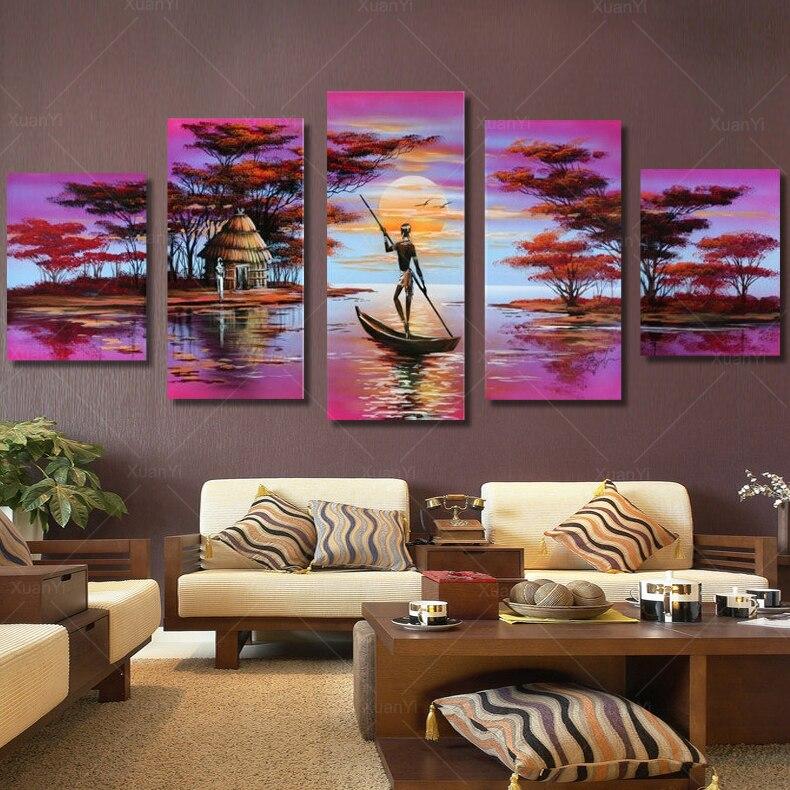 Paysage africain peintures achetez des lots petit prix paysage africain peintures en for Peinture chambre style africain