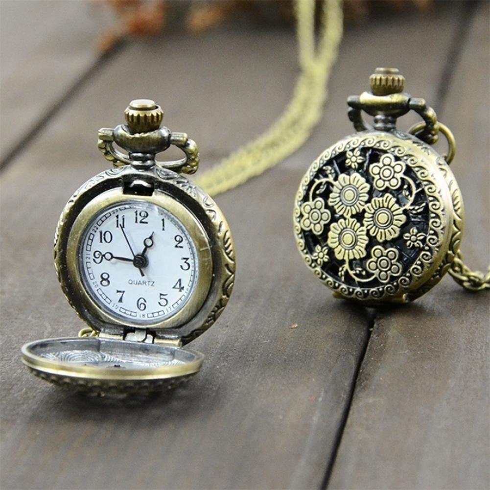 Pocket Watch Retro Vintage Steampunk Quartz Necklace Carving Pendant Chain Clock Pocket Watch Men's And Women's Necklace Watches
