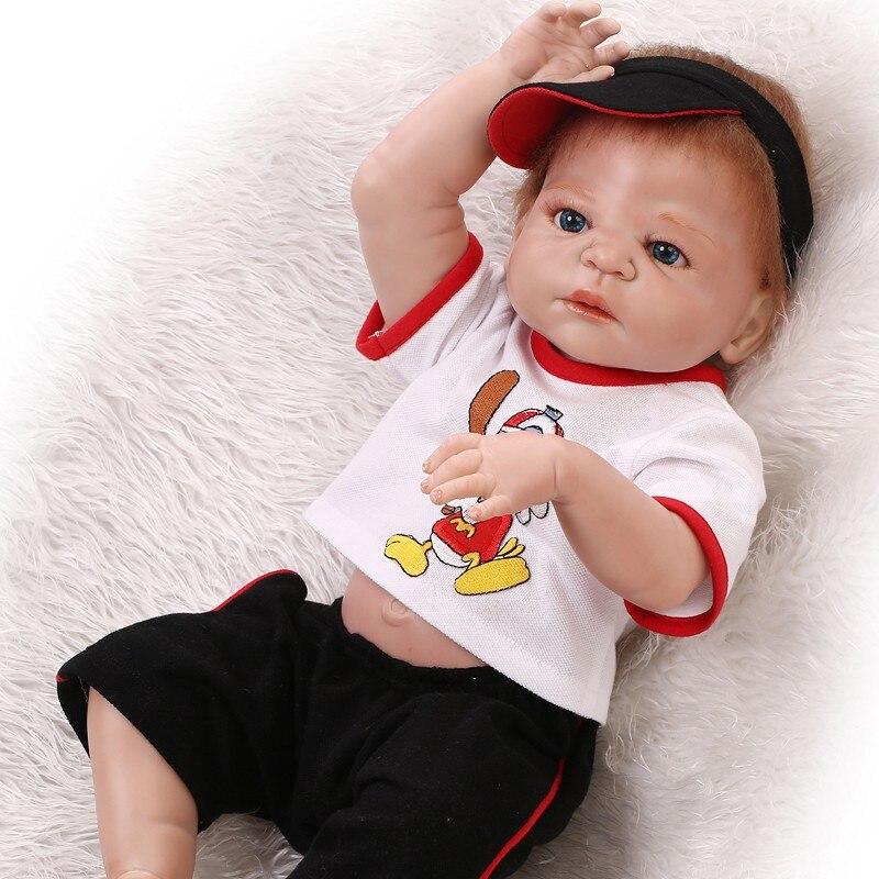 """Silicone New Boy 23/""""Reborn Baby Boy Doll Realistic Handmade Lifelike Newborn Toy"""