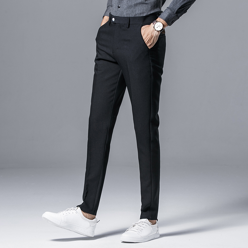 Desirable Time Men Slim Fit Formal Office Pants Size 28 34 Clic Style Mens Grey And Black Suit Dt145 In From S Clothing