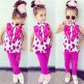2016 Meninas Do Bebê Verão Roupas 2 pçs/set Polka dot Vest + leggings Conjunto de Roupas Meninas Crianças Crianças Roupas Conjuntos