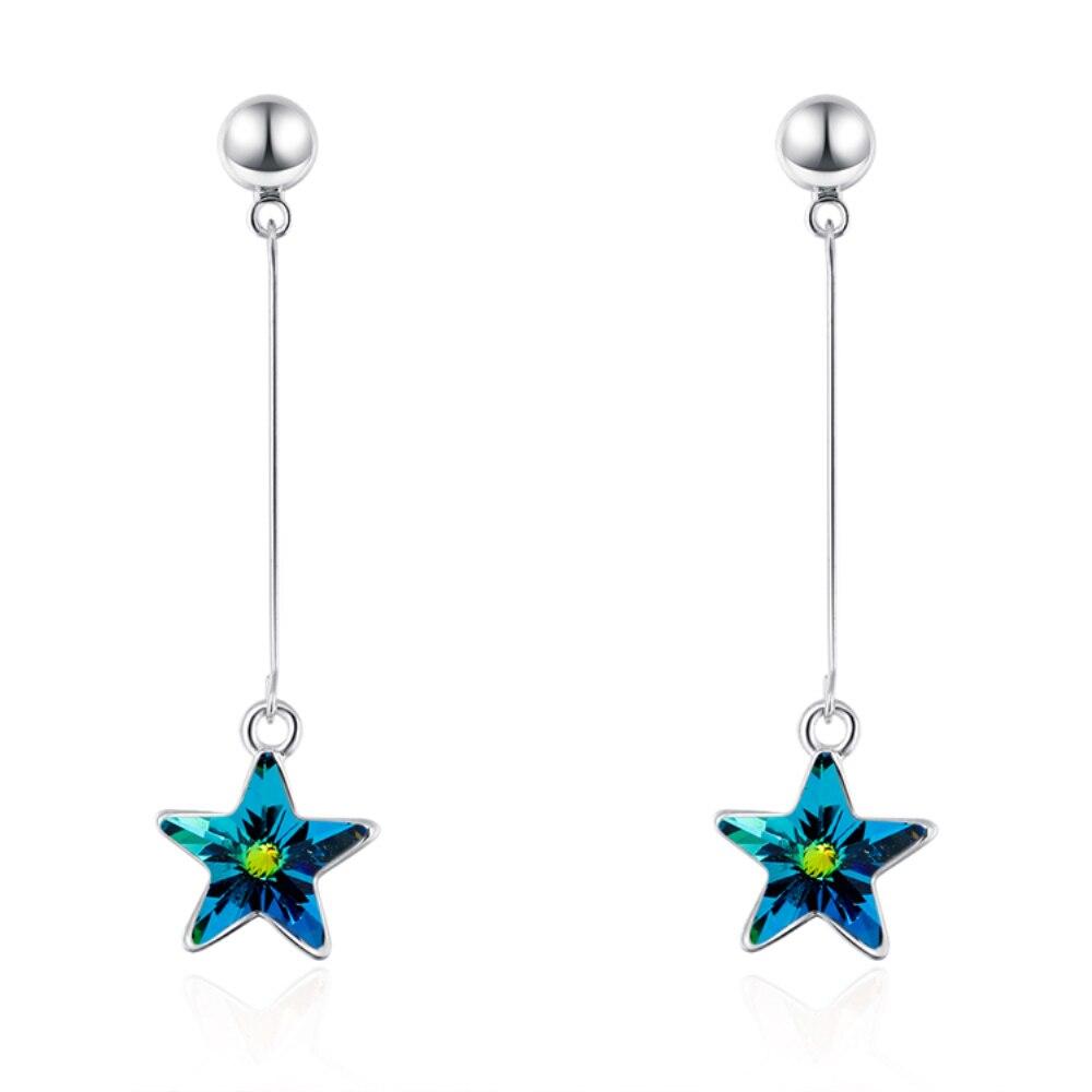 Новинка серьги в форме звезды года классический 2018 для девочки с натуральными кристаллами от Swarovski подарок ко Дню Святого Валентина bijoux