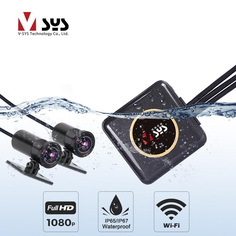 SYS VSYS Full Body Waterproof Motorcycle Camera Recorder P6FL WiFi Dual 1080P Full HD Motorcycle DVR Dash Cam Black GPS Box Щипцы