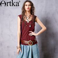 Artka Women S Summer New 5 Colors Embroidery All Match Sleeveless T Shirt Vintage O Neck