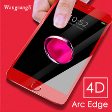 wangcangli 4D Full Cover Tempered Glass on the  For iPhone 6 6S 7 8 plus X Curved Edge Screen Protector Film protective Protec