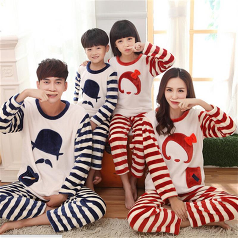 36c8952673cb New Family Matching Outfits Flannel Pajama Sets Stripe Mustache Winter Long  Sleeve Mom and Daughter Home Sleepwear Clothing Set