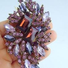 """Элегантный 3,9"""" фиолетовый медальон австрийский кристалл цветок брошь булавка EE04079C4"""