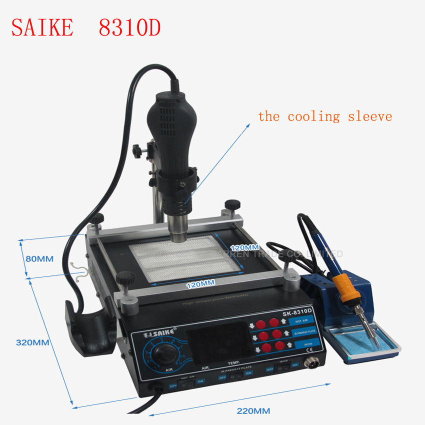 Rework Station 220v Or 110v Soldering Station Hot Air Station+Soldering Iron+Preheat Station 3 In 1 SAIKE 8310D