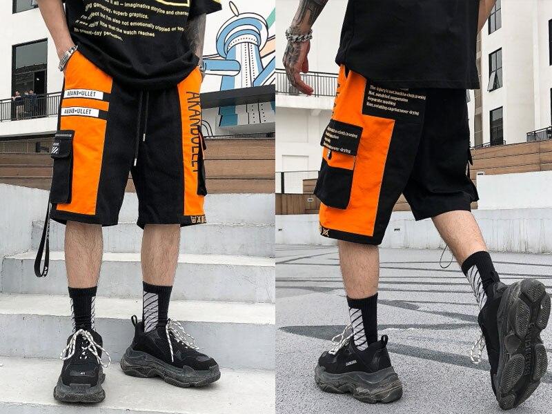Side Ribbon Zipper Pockets Cargo Baggy Shorts 1