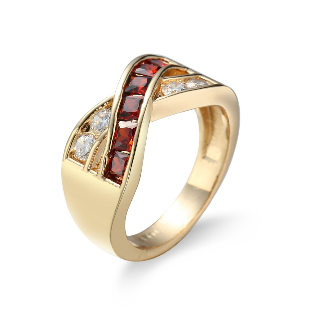 KC-074 Female Blue Cross Ring Fashion White & gules Gold Filled Jewelry Promise Engageme ...