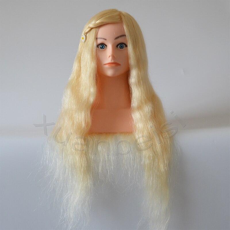 100% tête d'entraînement de cheveux humains blonds naturels avec épaule tête de Mannequin de grande qualité avec 22 pouces de vrais cheveux blancs 613 # factice
