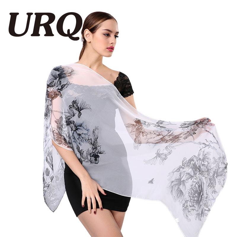 Larga gasa bufandas de seda Nueva primavera estilo chino verano estampado de flores mujer georgette bufandas chal bufandas artista Q5A16285