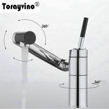 Torayvino Дизайн бассейна кран 360 градусов Поворотный одной ручкой горячей и холодной воды хромированное покрытие на бортике видных смеситель