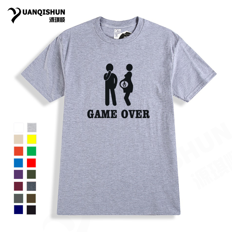 2018 New 16 Colors Cotton T-Shirt Print Women Men Baby And Letter Game Over T Shirt Brand Clothing Funny Pregnancy Tshirt XS-3XL
