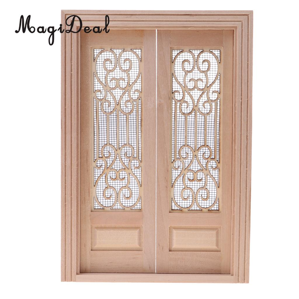 1 12 dollhouse miniature wood external hollow screen double door unpainted furniture toy for dolls