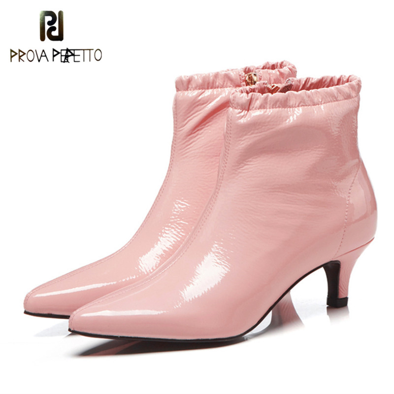 Prova Perfetto New Brand Pink Women Winter Shoes Black Color High Heels Ankle Boots Pointed Toe Zipper Snow Casual Women BootsProva Perfetto New Brand Pink Women Winter Shoes Black Color High Heels Ankle Boots Pointed Toe Zipper Snow Casual Women Boots