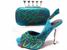 New Summer Style Elegant Shoes And Bag Sets Italian Shinning Stones High Heel Shoes And Bag