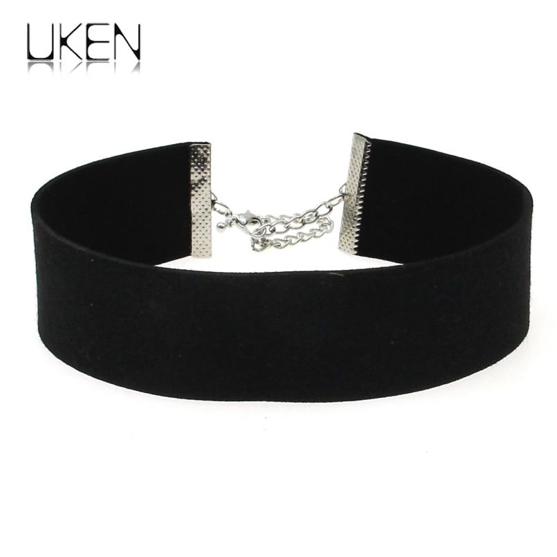 UKEN Wide Microfiber Cloth Simple Design Black Collar Choker Necklace Women 2018 New Brand Jewelry Wholesale Cheap price