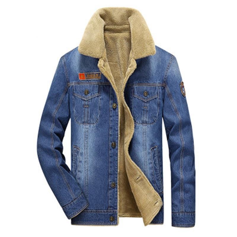 Hot Sale men jacket and coats brand fleece denim jacket Fashion mens jeans jacket thick warm outwear man winter jacket