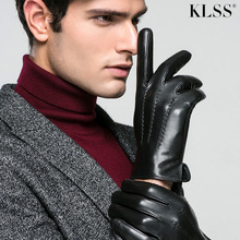 Klss Brand Genuine Leather Men Gloves Autumn Winter Warm Thicken High Quality Goatskin Glove Comfortable Casual J54