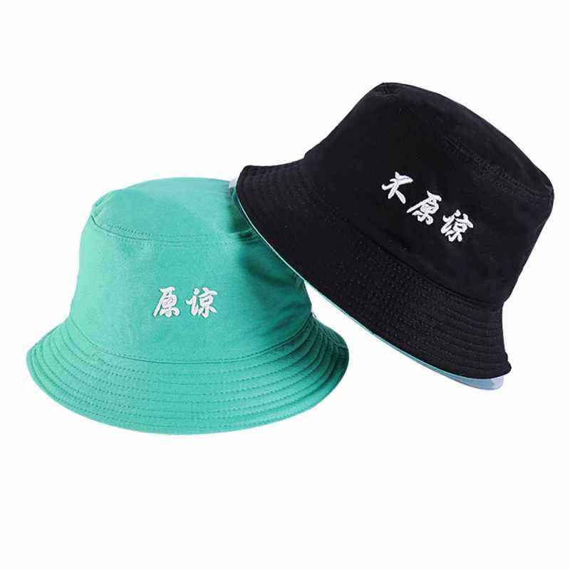 ... Stylish Unisex Hat Chinese Characters Embroidered Double-Sided  Fishermen Hat Casual Flat Cotton Bucket Hats ... dadeacdfa332