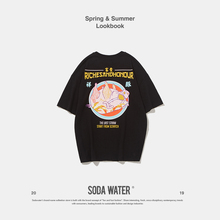 SODA WATER Zhongwen Print Tee Men's Funny T-shirt Loose Fit Streetwear Harajuku Icon Short Sleeve T-shirt Unisex Clothes 9155S