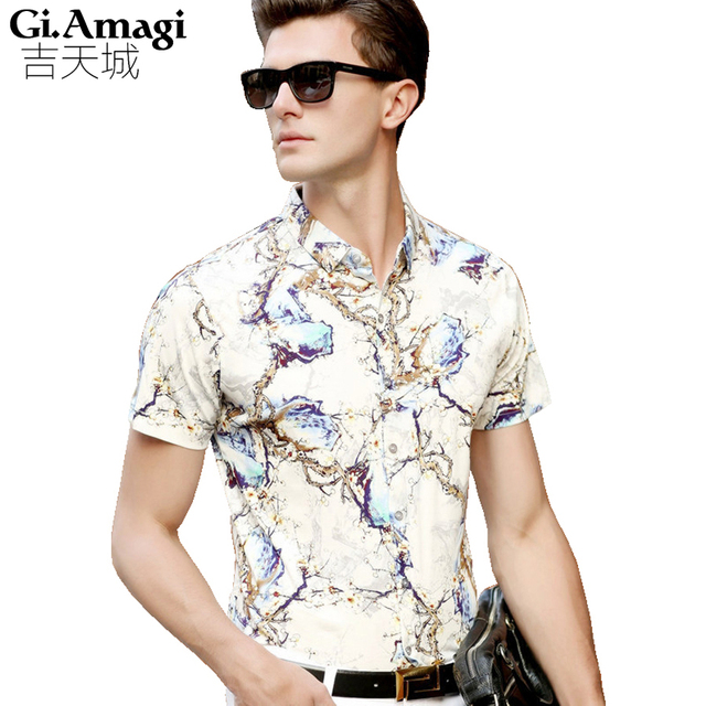 Camisa Masculina Slim Fashion Men Shirt 2016 New Brand mercerized cotton  Casual  Printing comfort Camisa Masculina Large Size