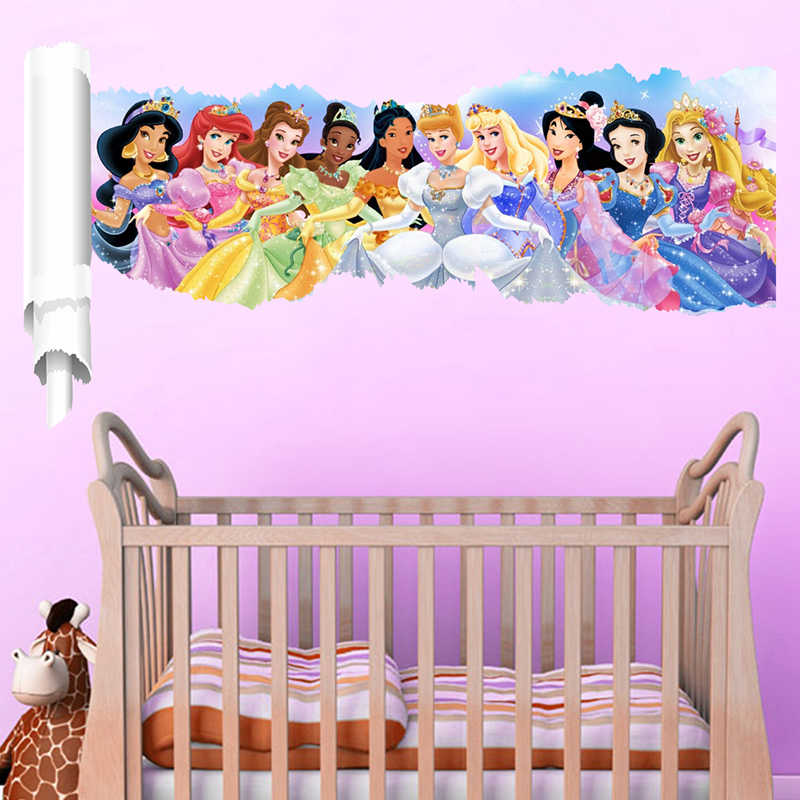 Cartoon Princess Wall Stickers For Kids Room Children 3D Wall Decals Snow Nursery Bedroom Decoration