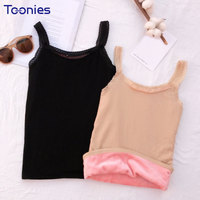 Winter Thermal Underwear Camis Women Tank Top Thickening Plus Velvet Lace Stitching Thermal Vest Sleeveless Top