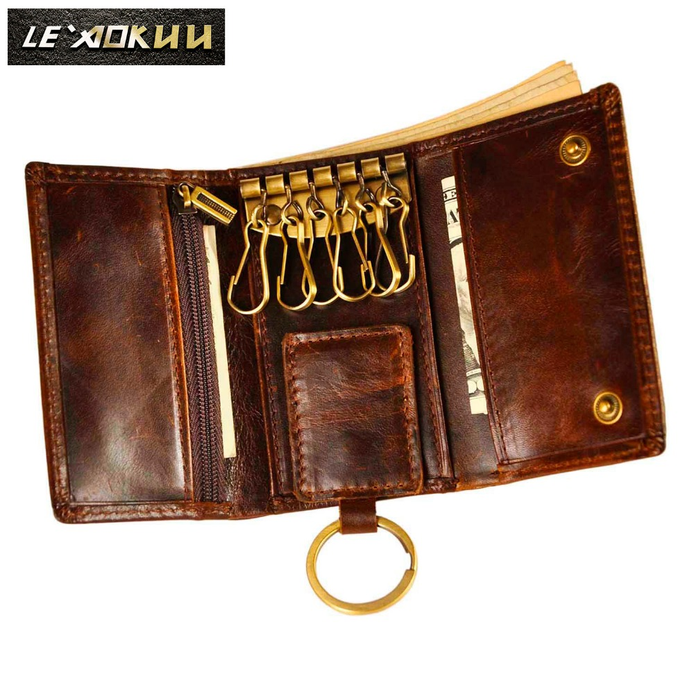Original Leather Men Fashion Multifunction Coin Wallet Car Remote Case Key Ring Case Holder Chain Designer Key Package Bag 230-C