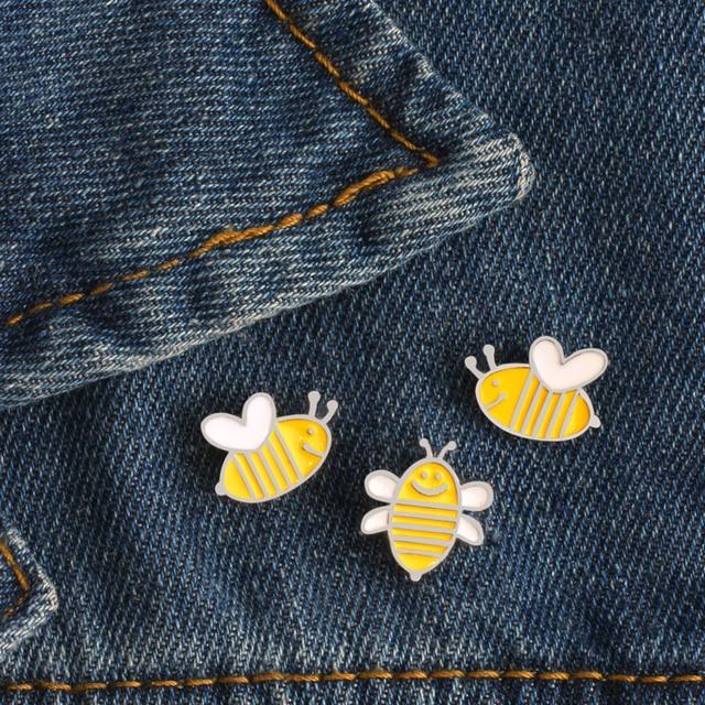 3 Pcs/set High Quality Creative Cartoon Cute Yellow Bee Enamel Pin Brooch Badge
