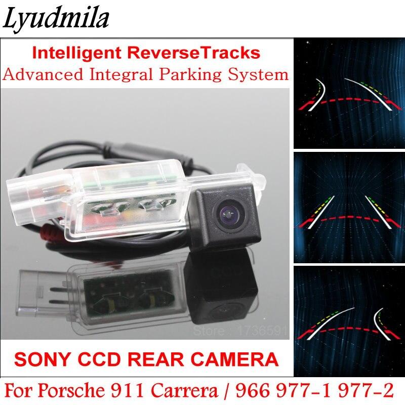 Lyudmila Intelligentized Caméra de Recul POUR Porsche 911 Carrera/966 977-1 977-2 HD Arrière Caméra Dynamique d'orientation Tragectory