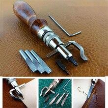 Set 7 en 1 Pro cuero artesanal costura ajustable y Groover Crease herramienta de cuero DIY práctico