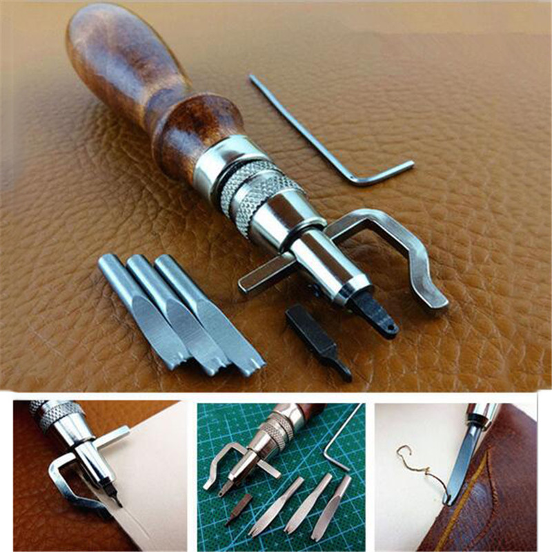 Set 7 in 1 Pro Leathercraft Jahitan Adjustable dan Groover Lipatan Alat Kulit DIY Praktis