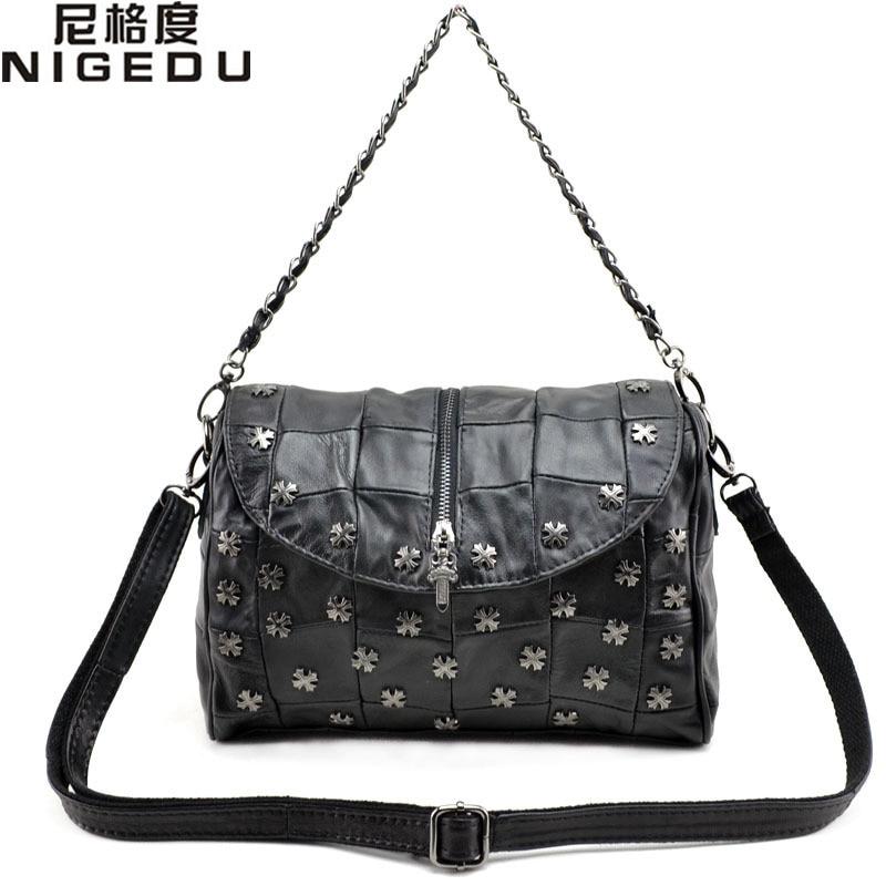 ФОТО Fashion Rivet small Women messenger bag 100% sheepskin patchwork Women handbag Genuine leather Shoulder bag Ladies Crossbody Bag