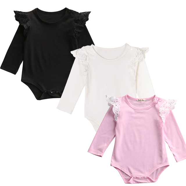 60843c1a78b9 Black White Pink Newborn Baby Girl Lace Fly Sleeve Cotton Romper ...