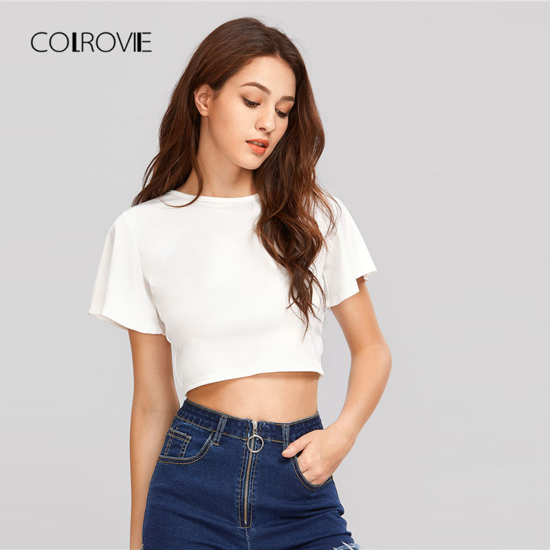 9233d49675 COLROVIE White Lace Up Open Back Crop Tee Shirt 2018 New White Round Neck  Short Sleeve Women Top Lace Up Backless T shirt-in T-Shirts from Women s  Clothing ...