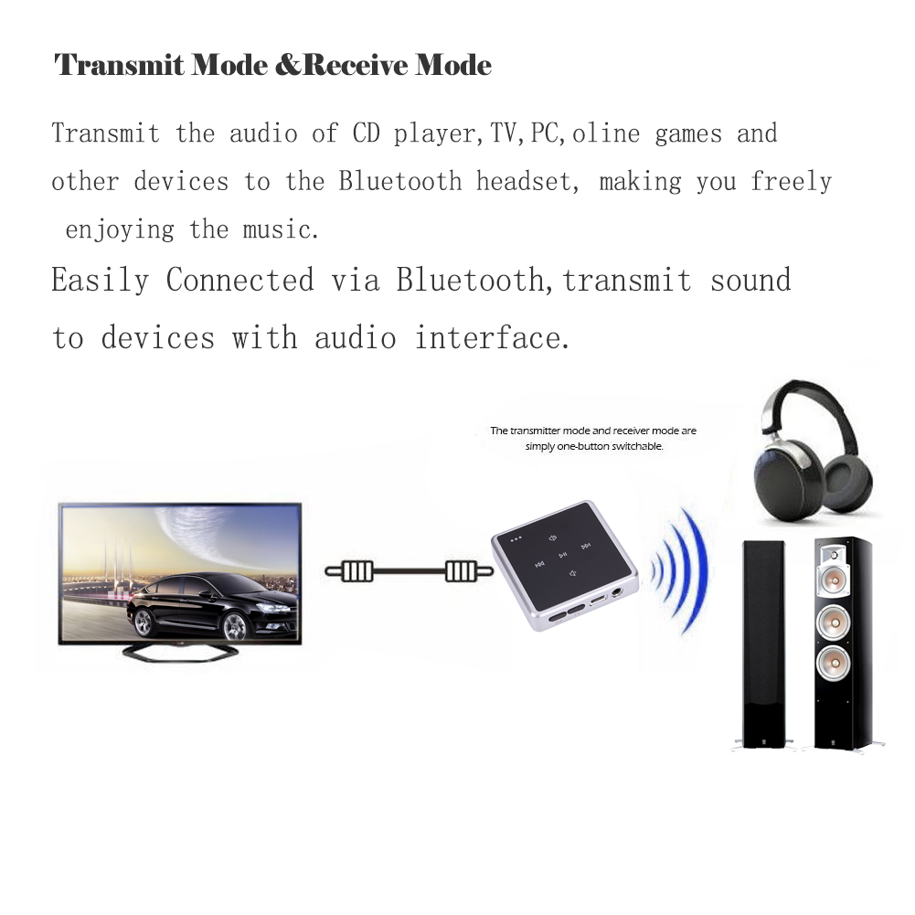US $21 92 13% OFF|ZF 380 Wireless Bluetooth Transmitter and Receiver 2 in 1  Bluetooth Adapter With 3 5mm Audio RCA Cable For Smart Phone MP3 PC TV-in