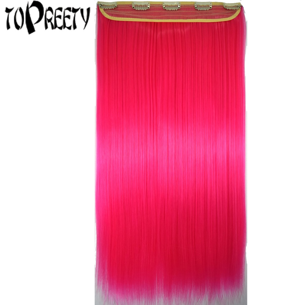 TOPREETY Heat Resistant Synthetic Hair 24 60cm 100gr Silky Straight 5 clips on clip in Hair Extensions