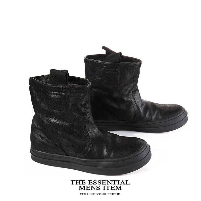Célèbre marque décontracté noir haut haut large veau haut chaussures en daim de vache en cuir véritable bas chaussure plat Justin Bieber botte - 2