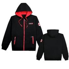 Sweater Cosplay Game Black Jacket Winter Plus Velvet Padded  long sleeve hooded Zipper Clothes