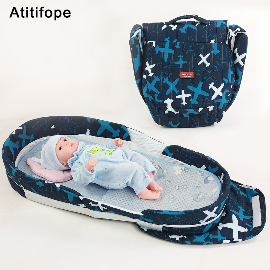 Newborn baby product baby bed folding bed thickening baby cradle folding portable crib baby travel bed luxury portable cradle newborn baby cradle multifunctional baby bed play bed with music toy can folding 2in1 crib cotton cot