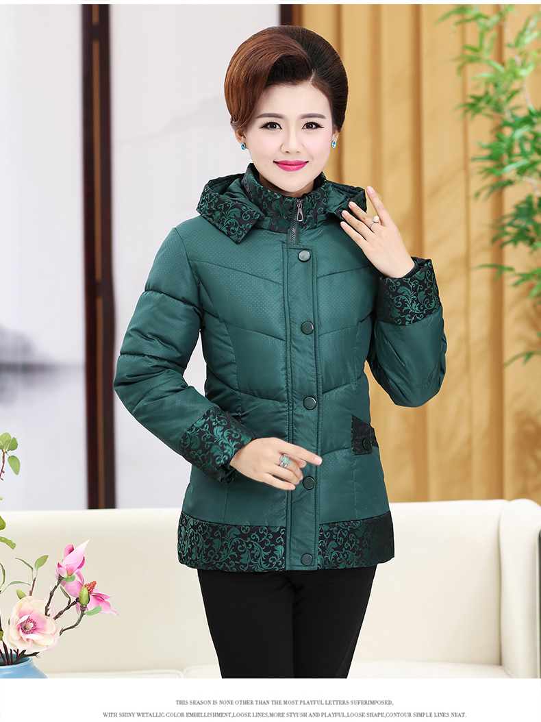 4c14dc7ddca ... Chinese Woman Quilted Jackets Mother Casual Puffer Coat Green Red Blue Padded  Outerwear Middle Aged Women ...