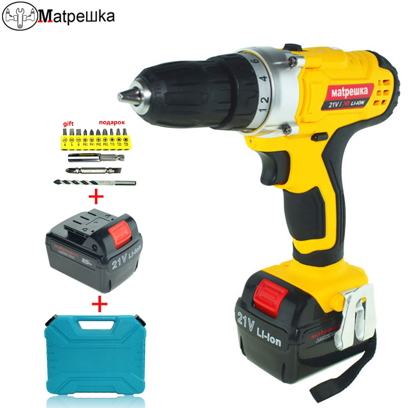 21V electrical Screwdriver power tools plastic box Multi-function Rechargeable 2* Lithium Battery Drill Bit Home Electric Drill free shipping brand proskit upt 32007d frequency modulated electric screwdriver 2 electric screwdriver bit 900 1300rpm tools