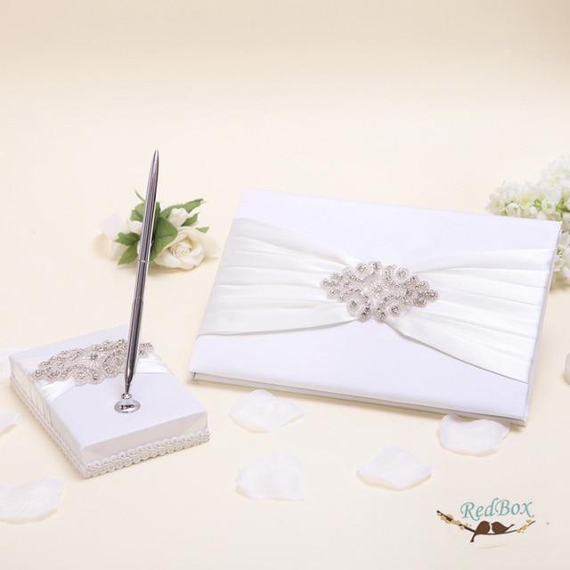 2pcs Set Top Quality Crystal Rhinestone Wedding Guest Book Pen Bride Party Supplies